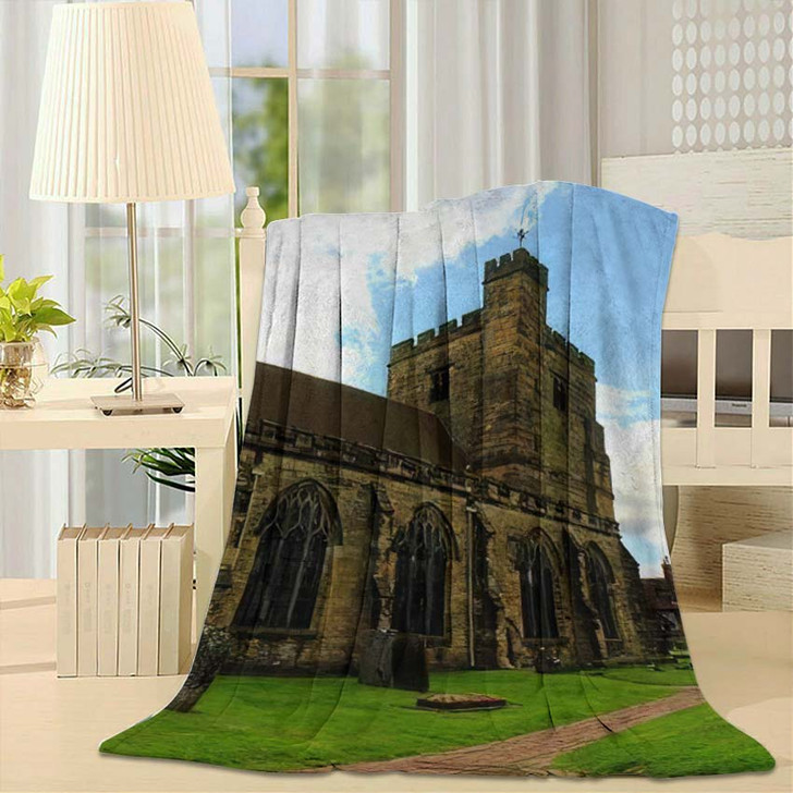 14Th Century St Marys Church Old - Landmarks and Monuments Fleece Blanket