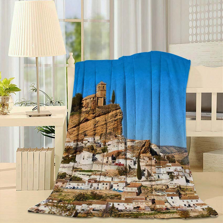 15Th Century Iglesia De La Villa - Landmarks and Monuments Fleece Blanket