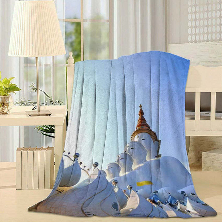 5 Buddha Statues On Blue Sky - Landmarks and Monuments Fleece Blanket