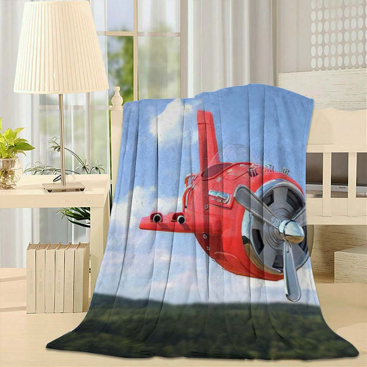 3D Rendering Model Airplane Cartoon Style - Airplane Airport Fleece Blanket