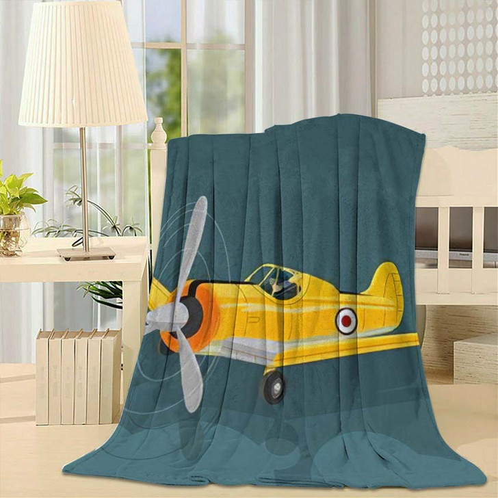 6 Texan North American Old Military - Airplane Airport Fleece Blanket