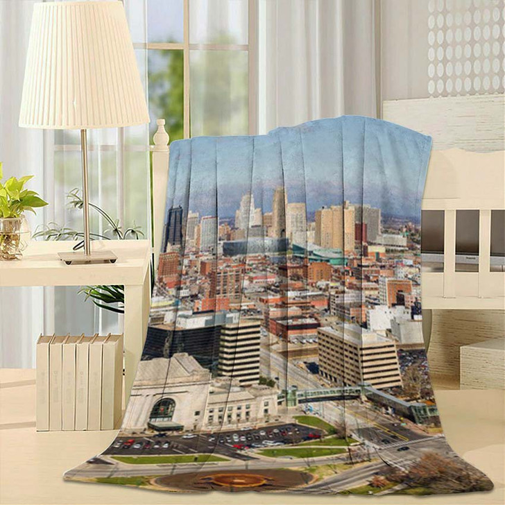 A Large Panoramic View Of Kansas City Missouri During The Daytime - Landscape Fleece Blanket