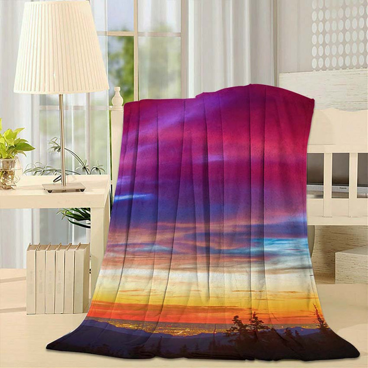 A Beautiful Colorful Epic Sunrise Over The City Lights Of Boulder Colorado - Nature Fleece Blanket