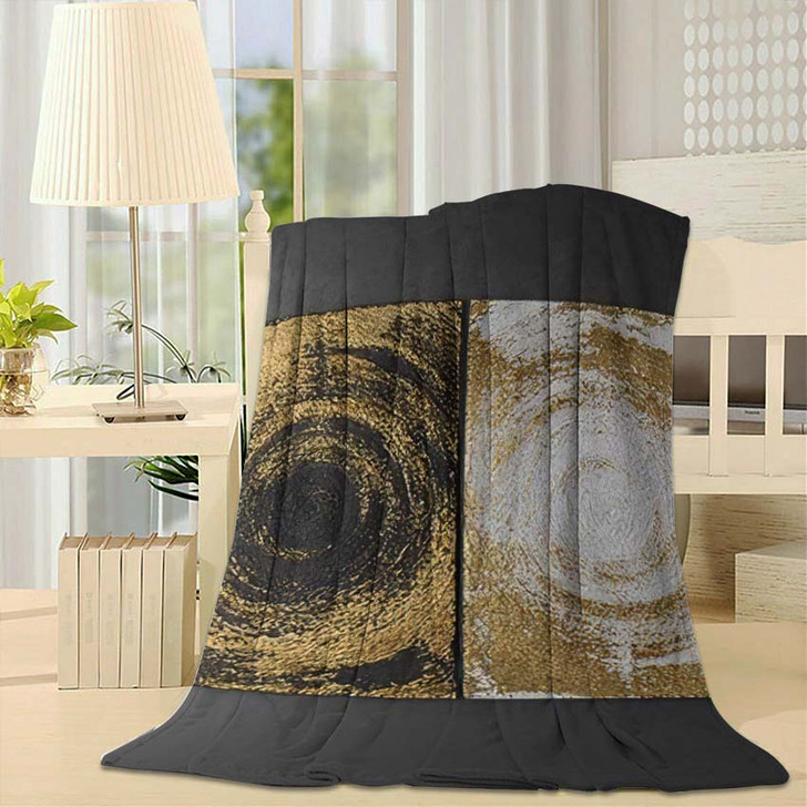 3D Wall Art Paintings Gold Leaf - Paintings Fleece Blanket