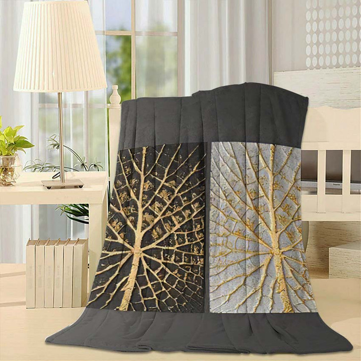 3D Wall Art Picture Gold Leaf - Paintings Fleece Blanket