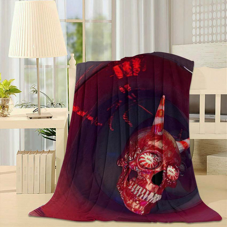 3D Rendering Skull Candies Halloween Background - Bear Animals Fleece Blanket