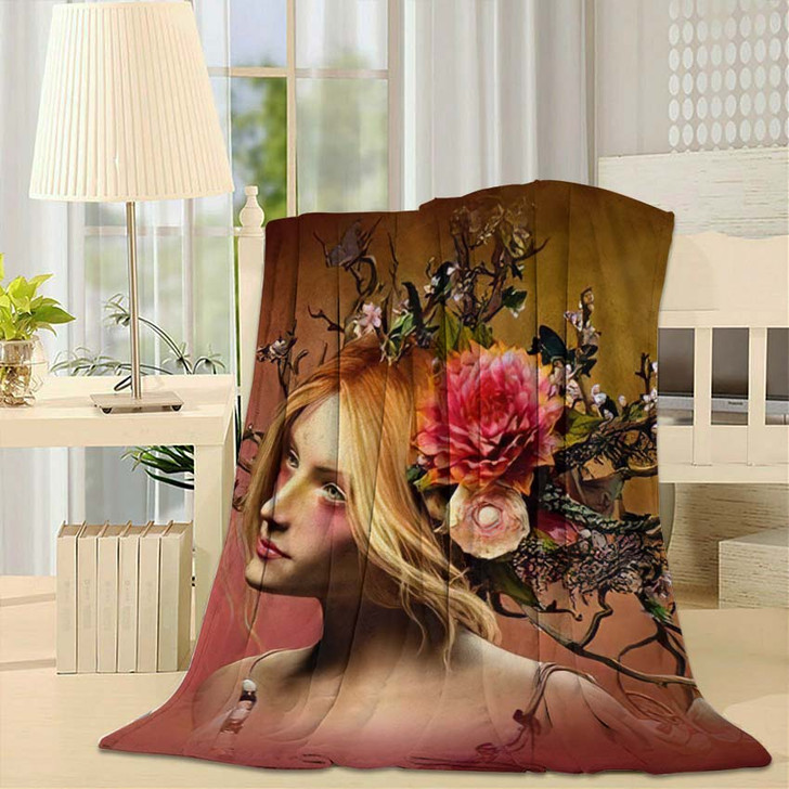 3D Computer Graphics Portrait Girl Headdress - Fantasy Fleece Blanket