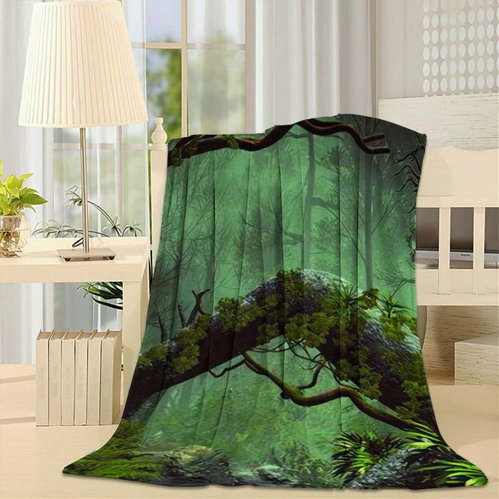 3D Illustration Forest Landscape Dense Cloudy 1 - Fantasy Fleece Blanket
