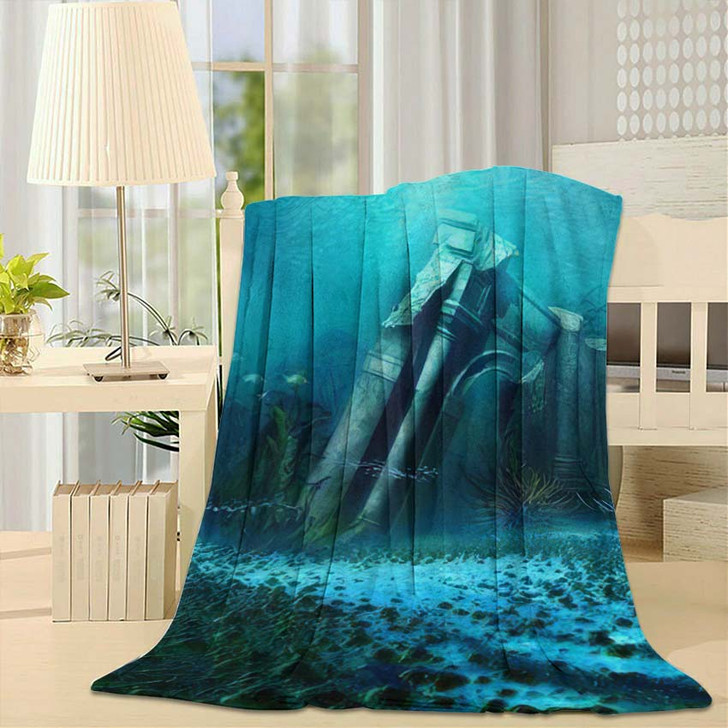 3D Illustration Rendered Underwater Fantasy Landscape 1 - Fantasy Fleece Blanket