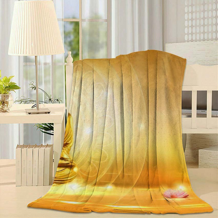 3D Illustration Buddha Meditated Lotus Flowers - Buddha Religion Fleece Blanket