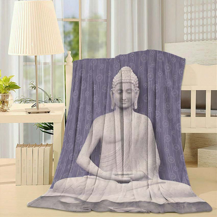 3D Illustration Buddha Meditating Beautiful Flower - Buddha Religion Fleece Blanket