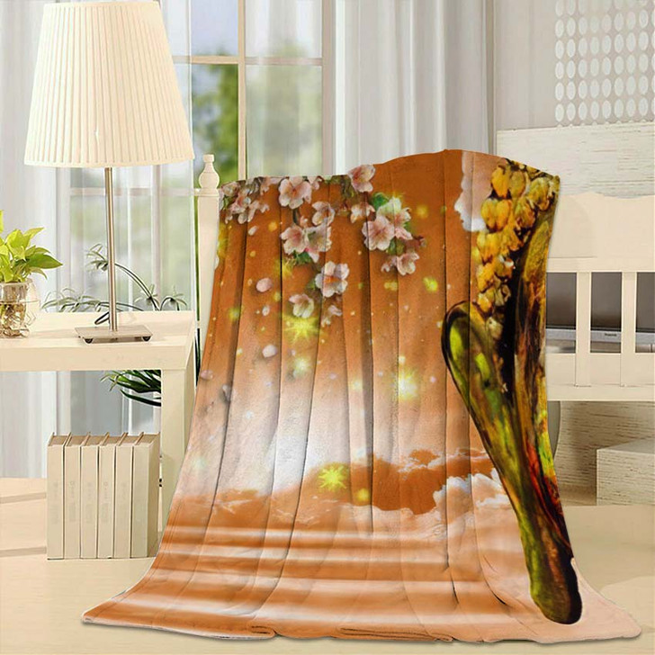 3D Wallpaper Buddha Depicted Way Heaven - Buddha Religion Fleece Blanket