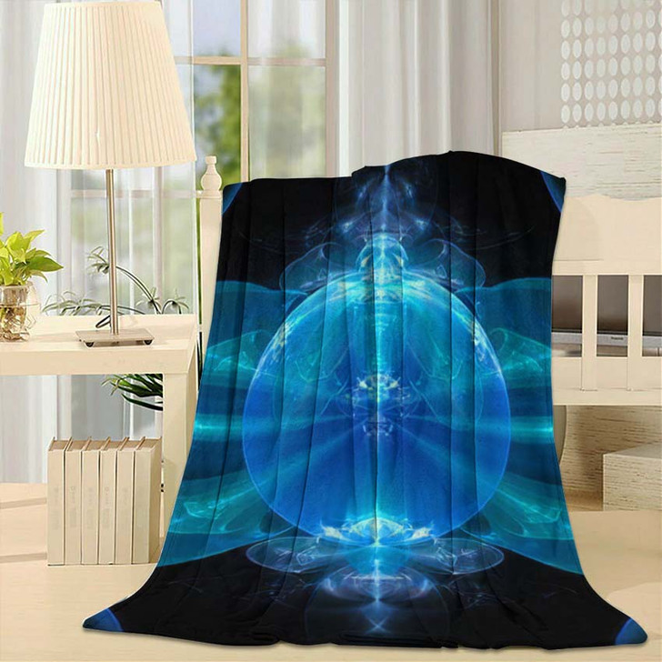 3D Surreal Illustration Sacred Geometry Mysterious - Psychedelic Fleece Blanket
