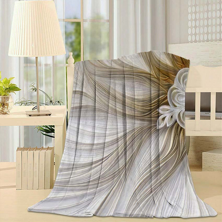 3D Golden Mural Wallpaper Decoration Abstract - Fantastic Fleece Blanket
