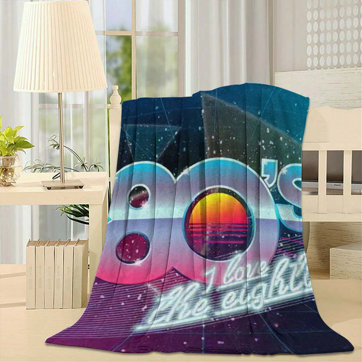 80S Love Eighties Retro Banner Old - Fantastic Fleece Blanket