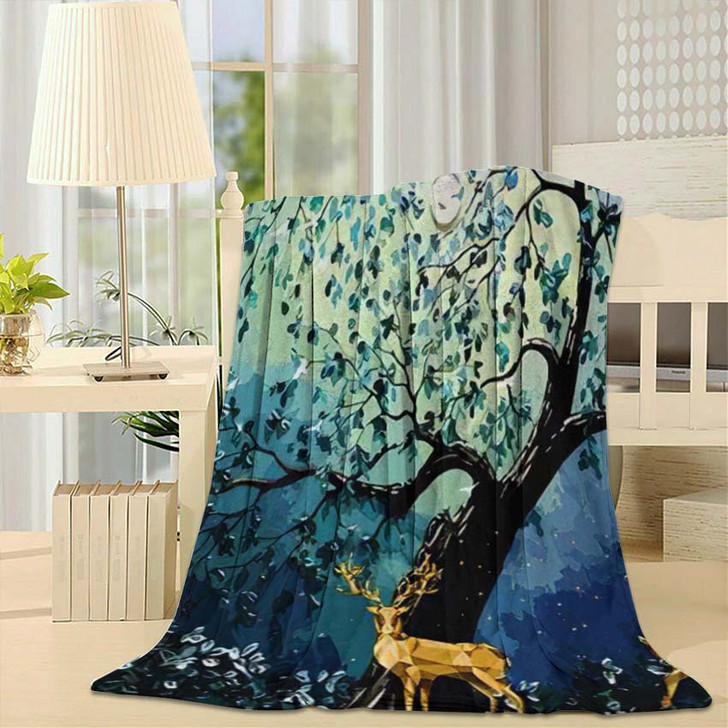 3D Modern Art Mural Wallpaper Dark - Deer Animals Fleece Blanket