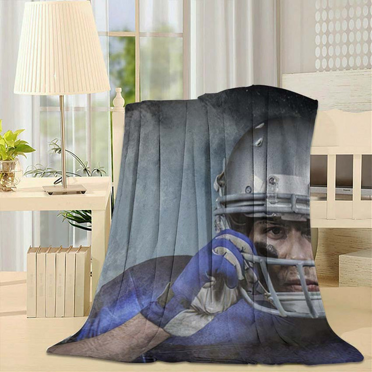 3D Portrait American Football Player Wearing - Football Fleece Blanket