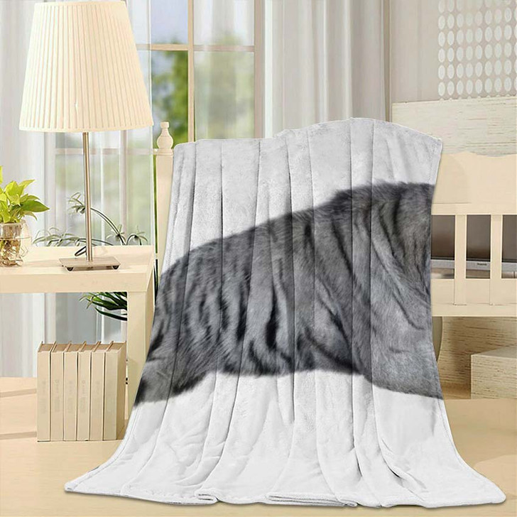 3D Rendering White Tiger Isolated On - White Tiger Animals Fleece Blanket