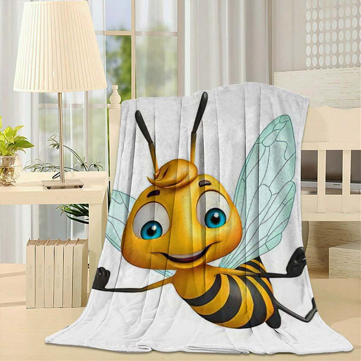 3D Rendered Illustration Bee Funny Cartoon - Cartoon Fleece Blanket