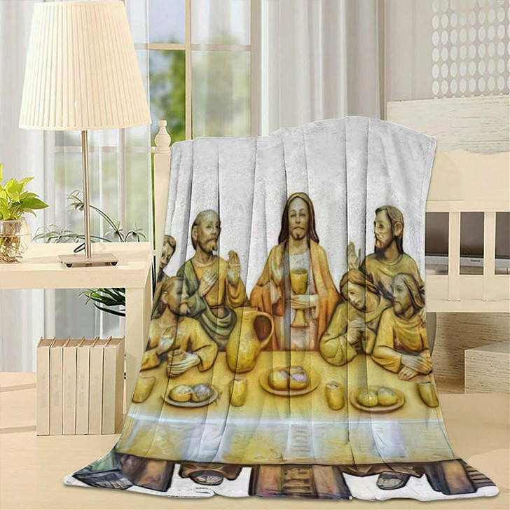 500 Years Old Antique Wooden Picture - Last Supper Christian Fleece Blanket