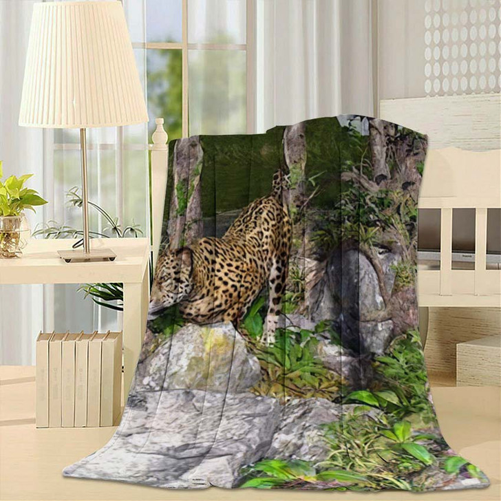 3D Artwork Leopard Hunting Wild - Hunting and Fishing Fleece Blanket