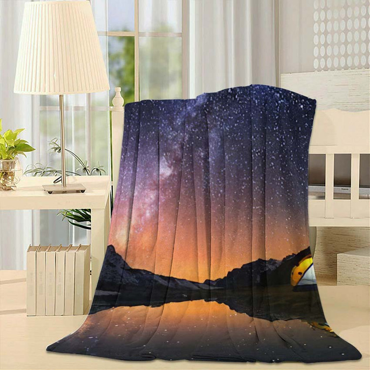 5 Billion Star Hotel Camping Mountains - Starry Night Sky and Space Fleece Blanket