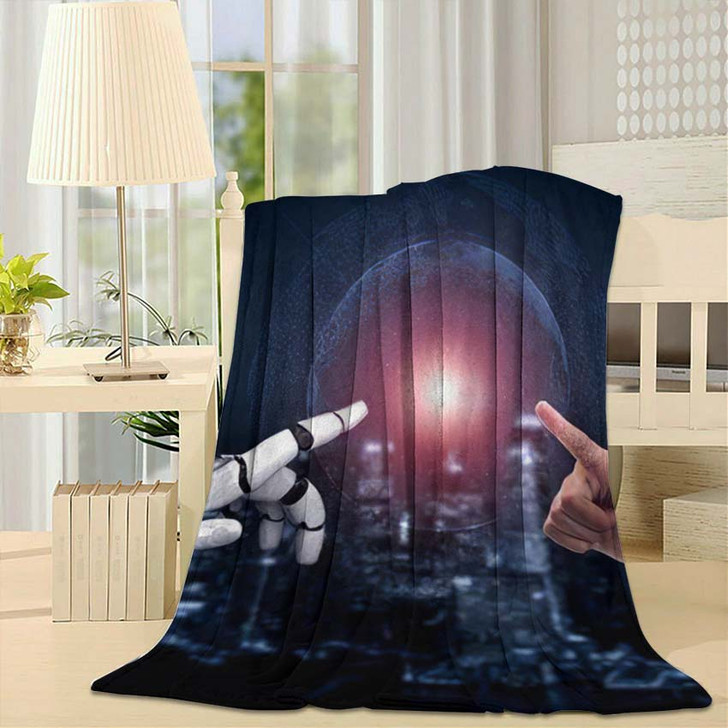 3D Rendering Artificial Intelligence Ai Research 45 - Creation of Adam Fleece Blanket