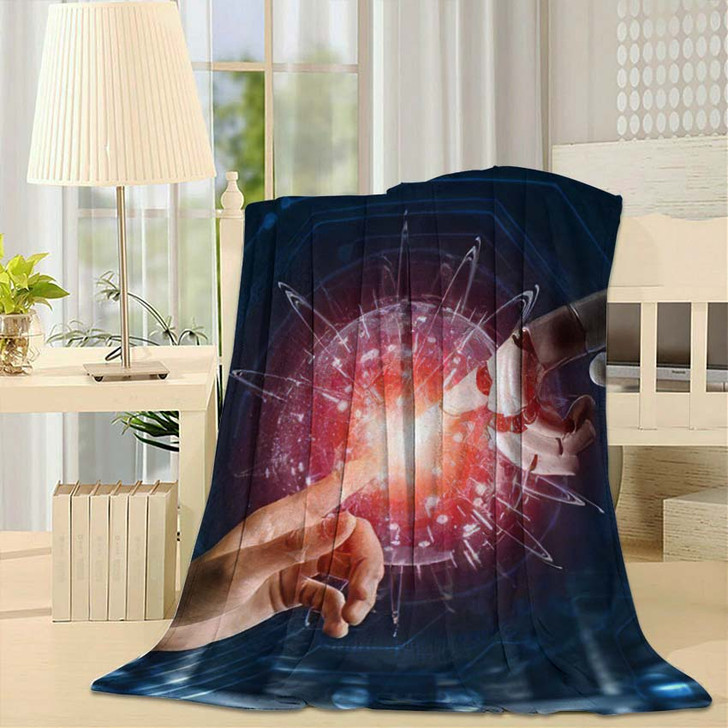 3D Rendering Futuristic Robot Technology Development 5 - Creation of Adam Fleece Blanket