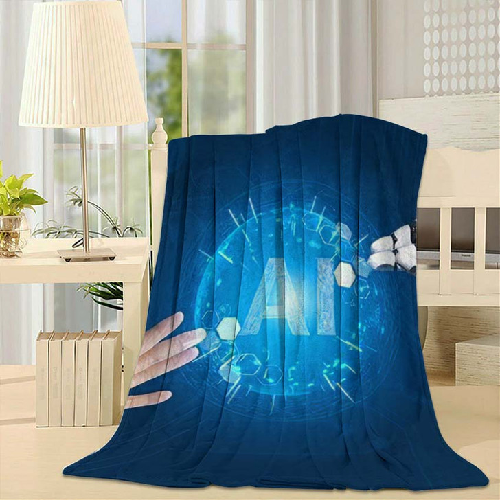 3D Rendering Futuristic Robot Technology Development 14 - Creation of Adam Fleece Blanket