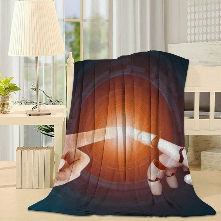 3D Rendering Futuristic Robot Technology Development 18 - Creation of Adam Fleece Blanket