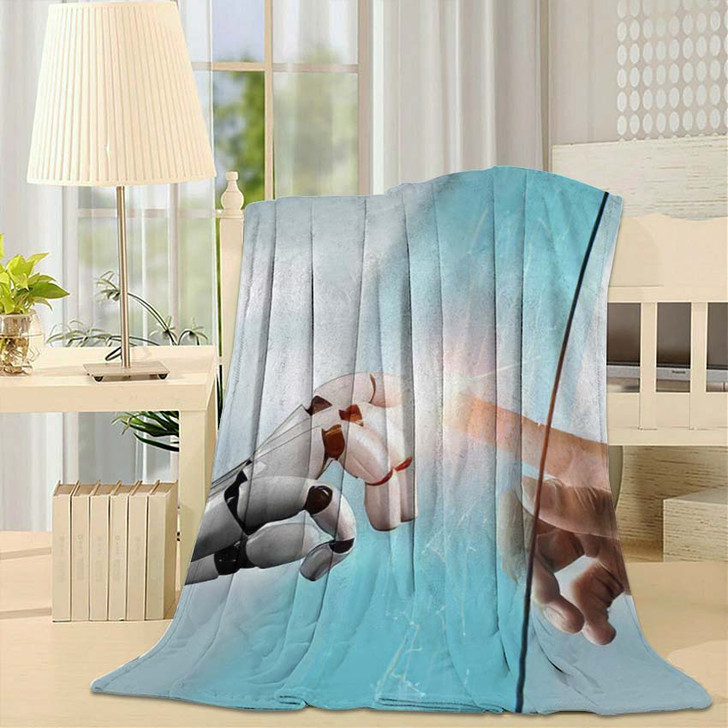 3D Rendering Futuristic Robot Technology Development 21 - Creation of Adam Fleece Blanket