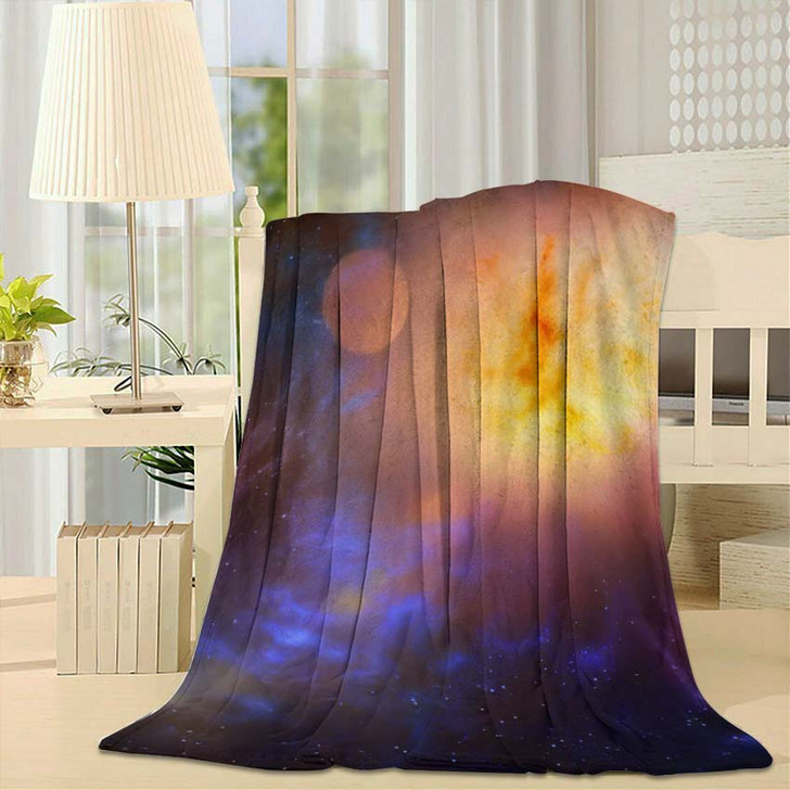 3D Illustration Planets Galaxy Science Fiction 6 - Galaxy Sky and Space Fleece Blanket