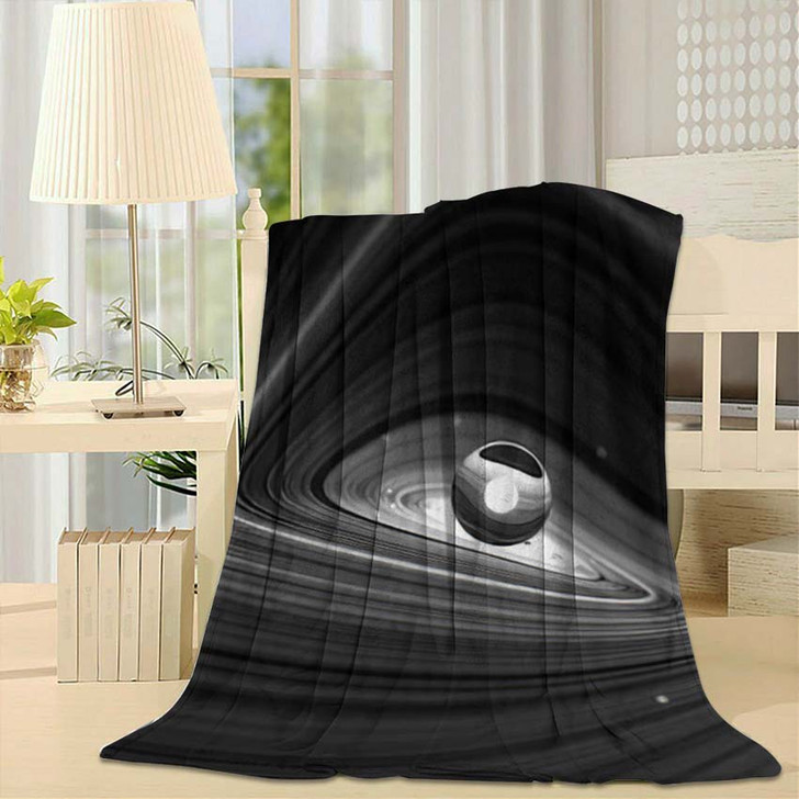 3D Render Black White Abstract Art - Galaxy Sky and Space Fleece Blanket