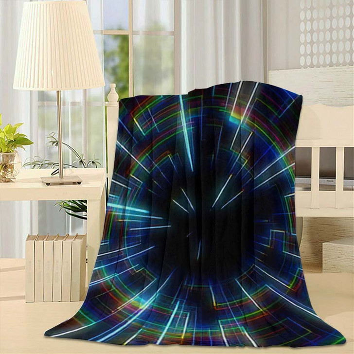80S Retro Circle Tunnel - Galaxy Sky and Space Fleece Blanket