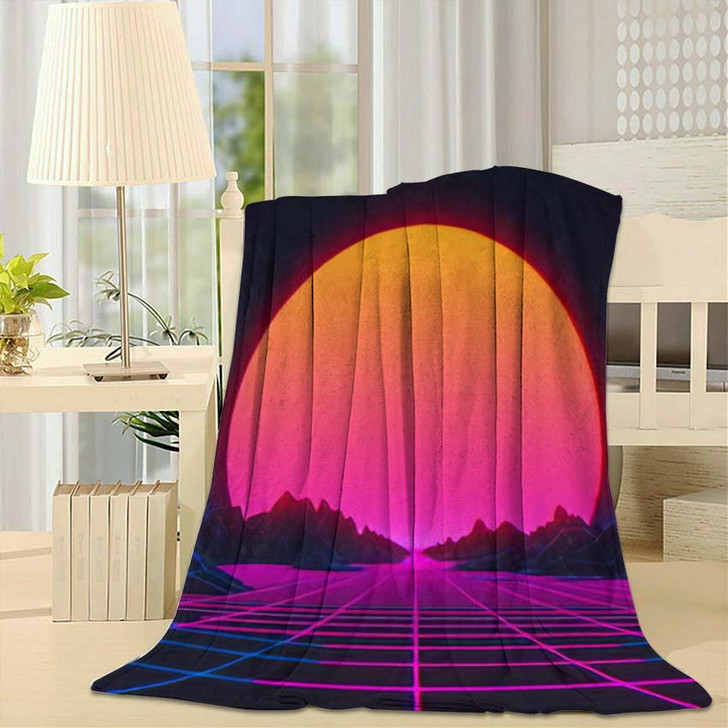 80S Retro Futurism Background 3D Illustration - Galaxy Sky and Space Fleece Blanket