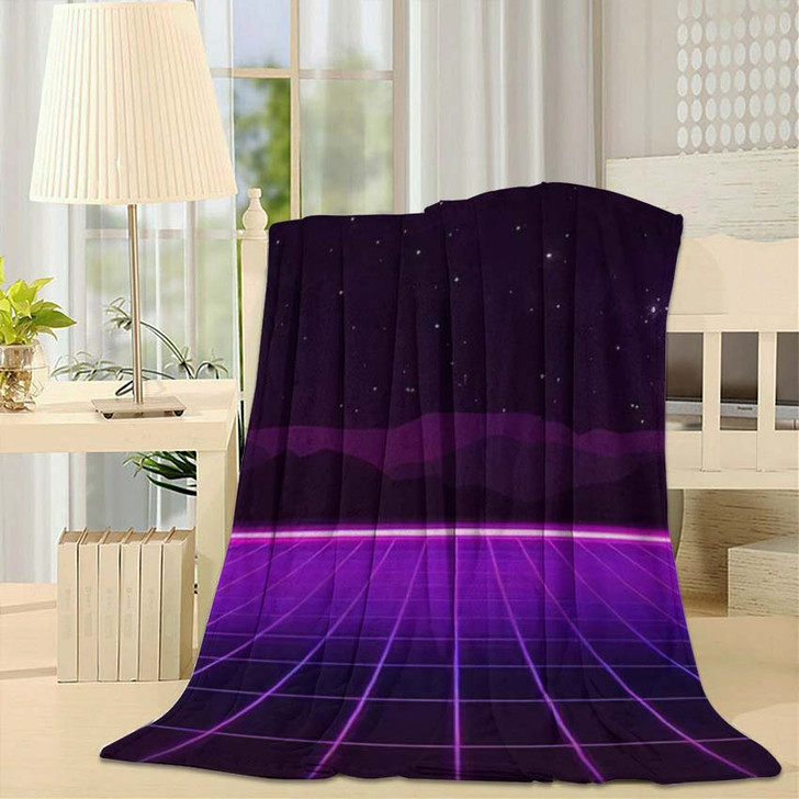 80S Retro Futurism Background 3 1 - Galaxy Sky and Space Fleece Blanket