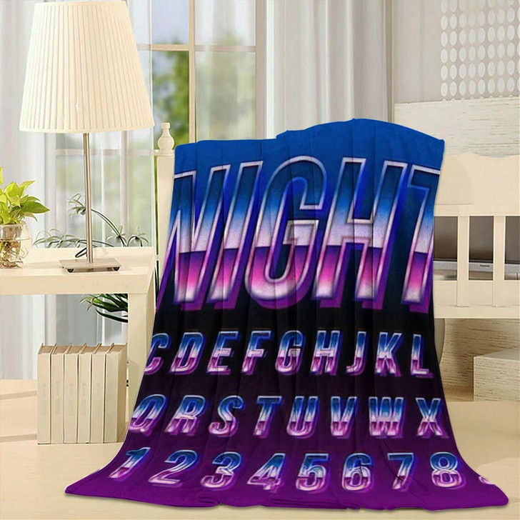 80S Retro Futurism Font Blue Metallic - Galaxy Sky and Space Fleece Blanket