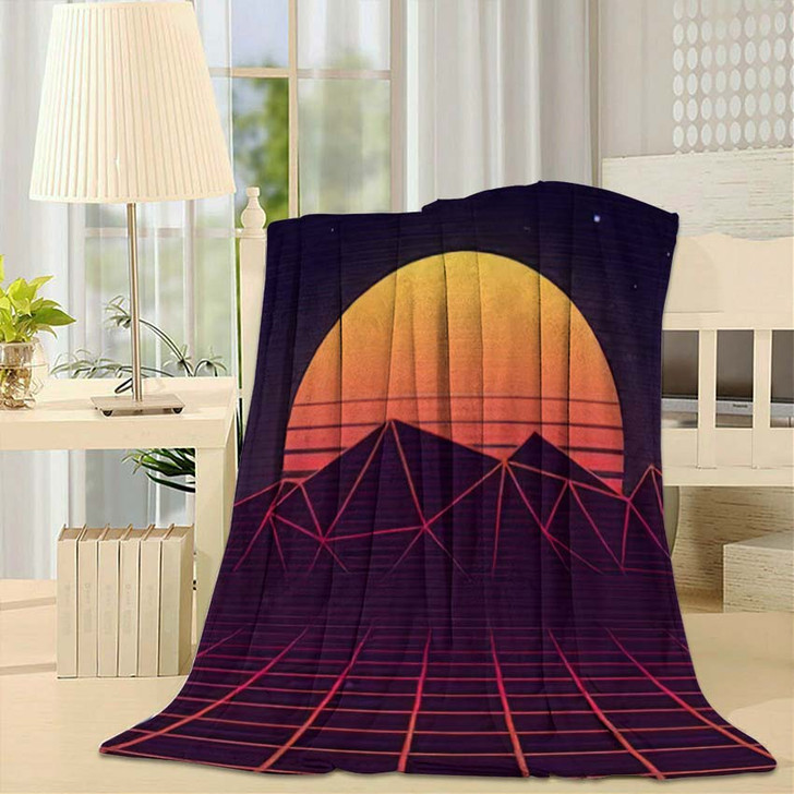 80S Retro Futuristic Background Laser Grid - Galaxy Sky and Space Fleece Blanket