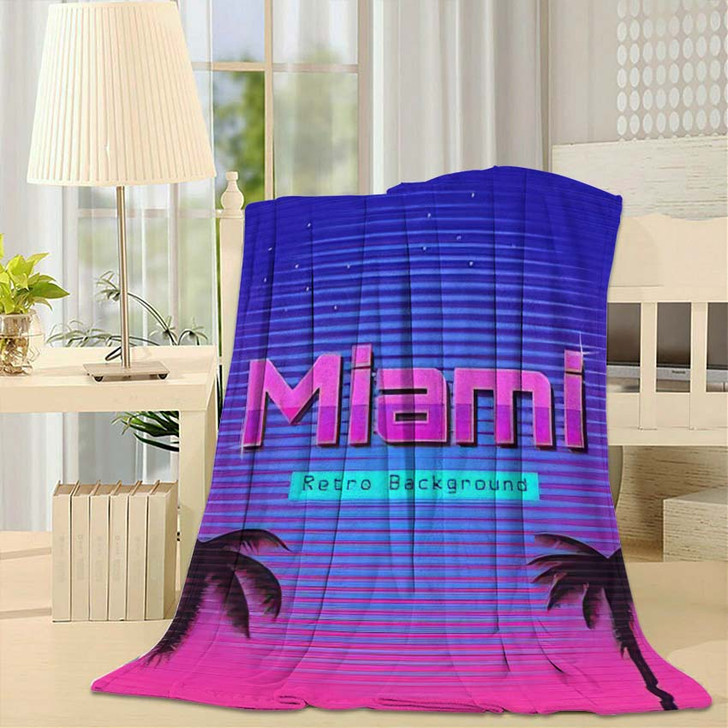 80S Retro Neon Gradient Background Palms 1 - Galaxy Sky and Space Fleece Blanket