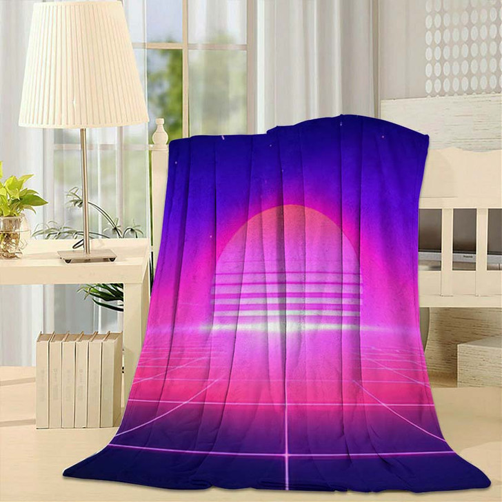 80S Retro Style Abstract Background Sun - Galaxy Sky and Space Fleece Blanket