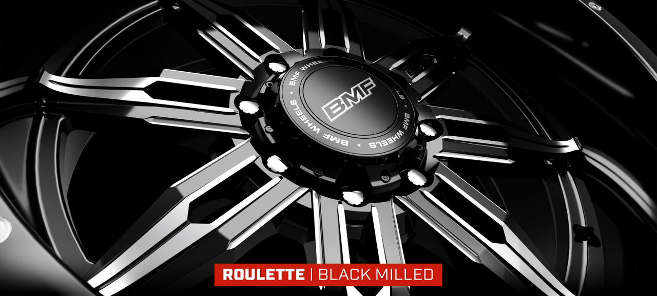 20X10 Roulette Truck Wheel in Black Milled FInish