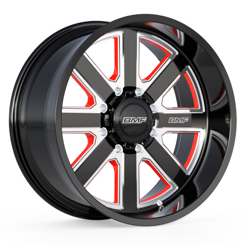 Limited Edition BMF Hustle-R Truck Wheel featuring the BMF black and milled finish with red windows.
