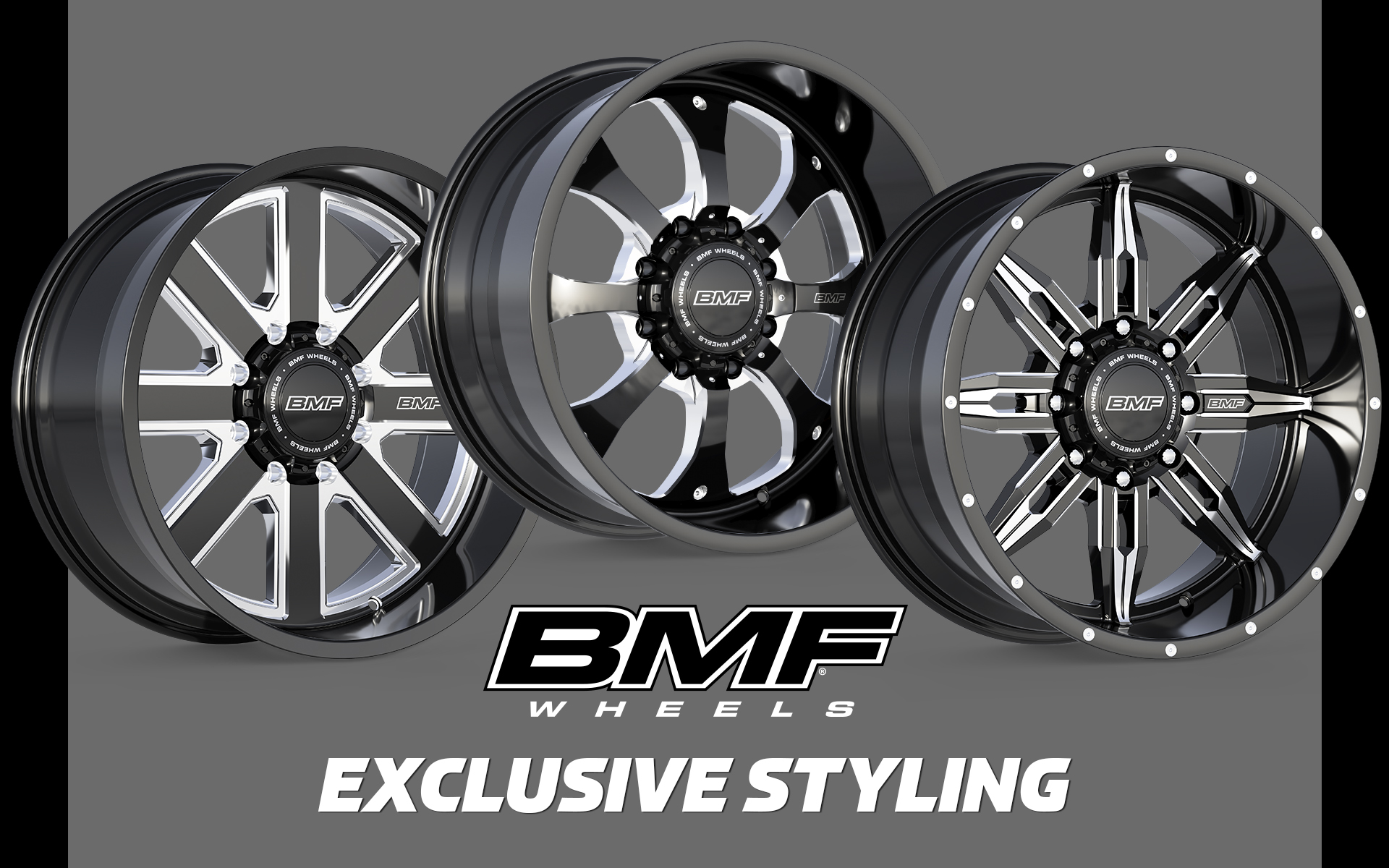 Our wheels feature exclusive offroad inspired styling, premium automotive finishes, precision 3-axis CNC milling, customizable center caps, and aggressive fitments with the deepest dishes and straightest rim lips available. If you're looking for that next level wheel to upgrade the look of your rig, nothing else hits like a BMF.  BMF wheels are available in 20x9, 20x10, and 22x10.5 for most Ford, Chevy, GMC, Ram, and Toyota Trucks and SUVs.