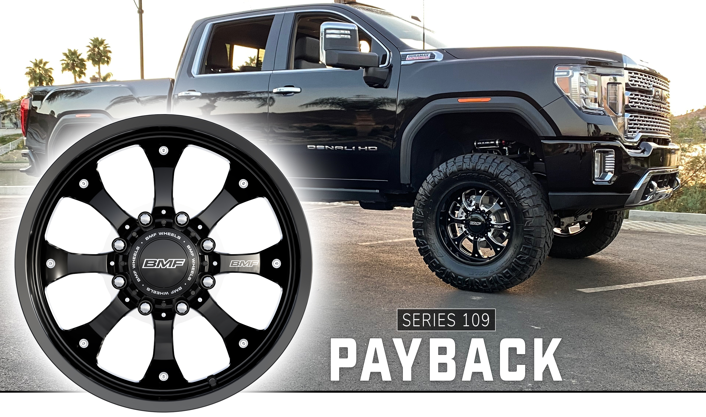 20X9 BMF Payback Truck wheels on 2020 GMC Denali with 37X12.5 Nitto Ridge Grapplers