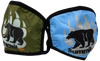 Blue and Green face masks with bear/paw logo (gray paw, black bear)
