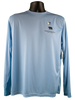 Front of shirt - light blue performance fabric with small black bear/paw logo on top right corner