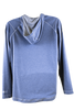backview of heathered dust blue 1/4 zip pullover with hood (light gray lining) and gray seams