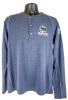 Heathered dust blue long sleeve pullover tee with 1/4 button Henley style, gray seams, and small bear/paw logo in right chest corner (light gray paw and Summit lettering, black paw)