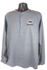 Heathered gray long sleeve pullover tee with 1/4 button Henley style, gray seams, and small bear/paw logo in right chest corner (light gray paw and Summit lettering, black paw)