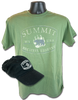 "black hat superimposed on military green shirt, both with same logo: ""Summit"" in big white curved letters above centered white and gray bear/paw logo, and white ""Bechtel Reserve"" curved in smaller letters below bear/paw"